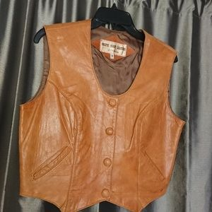 "Western leather vest women's 8 brown bust 39"" used"